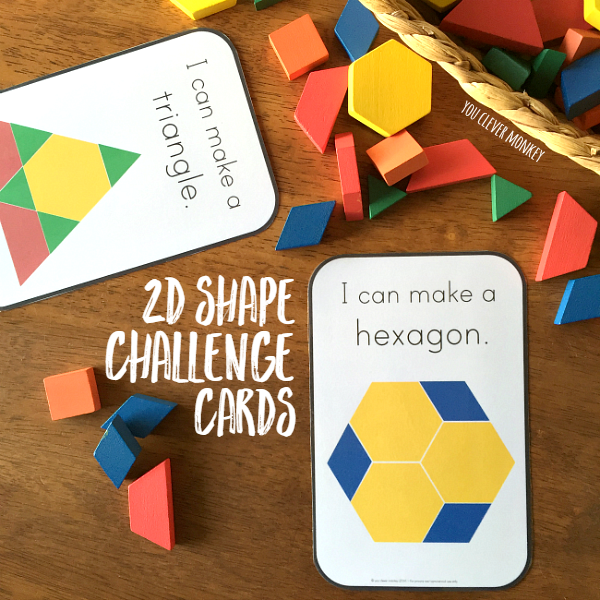 2D Shape Pattern Block Challenge Cards | you clever monkey