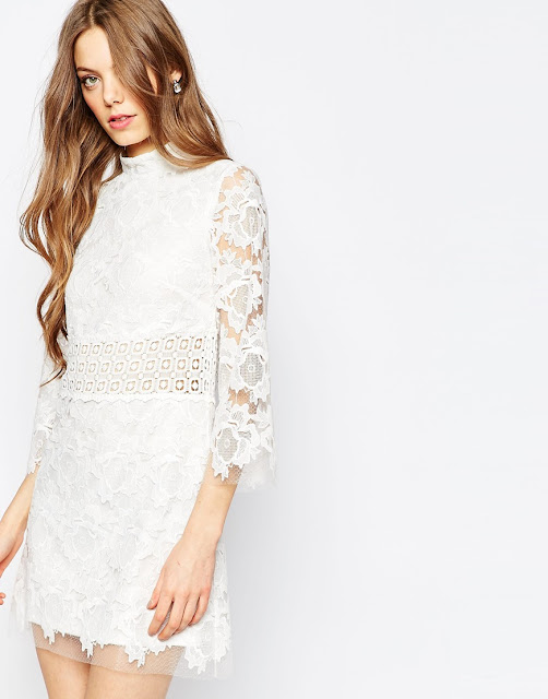 asos white lace dress, high neck white lace dress,