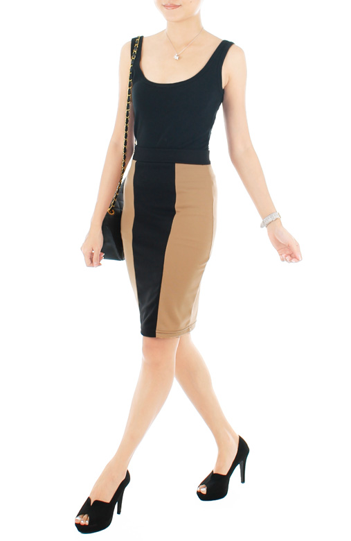 Illusion Two Tone Pencil Skirt - Coffee
