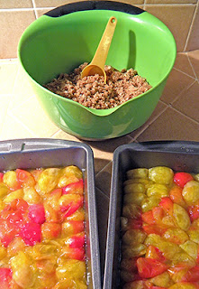 Two Pans of Mirabelle Plums with Double Recipe of Topping in Bowl