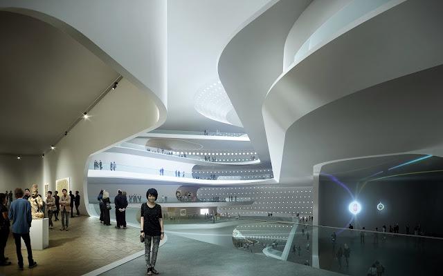Photo of museum interiors showing visitors enjoying the art