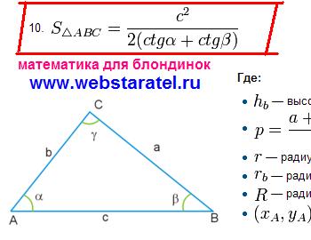 Площадь треугольника через котангенс. Формула площади треугольника с котангенсом. Математика для блондинок.