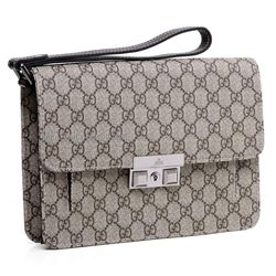 d53bb0a79308 Gucci Mens Clutch Bags 223651 FCIEN 9643 - beige ebony GG plus with brown  leather trim - Made in Italy - silver hardware - strap handle