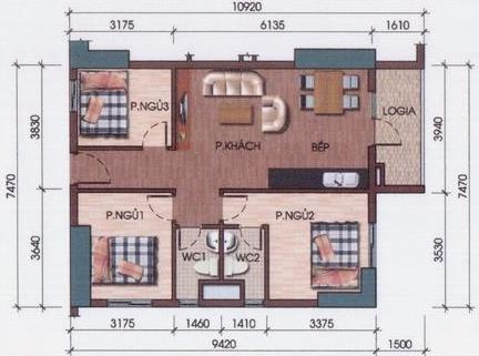 Thiết kế căn hộ 3 phòng ngủ diện tích từ 76- 82m2