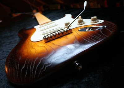 Wudtone Natural Ash Burst Strat-type