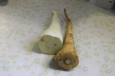 unpeeled and peeled parsnip