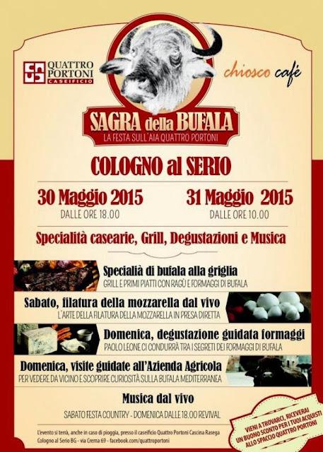 Sagra della Bufala 30 e 31 maggio Cologno al Serio (BG)