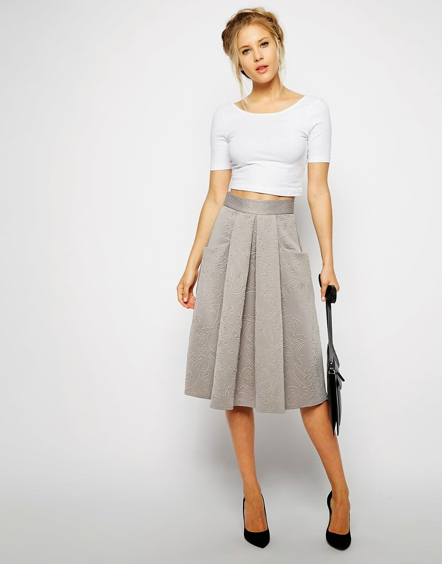 grey patterned midi skirt