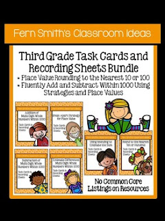 Fern Smith's Classroom Ideas Third Grade Math - Unit One Task Cards with No Common Core at TeacherspayTeachers.