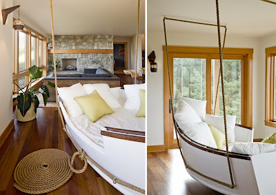 desirable hanging day bed inside the main living area