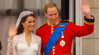 The Duke and Duchess of Cambridge last wave to the crowd. YouTube 2011.