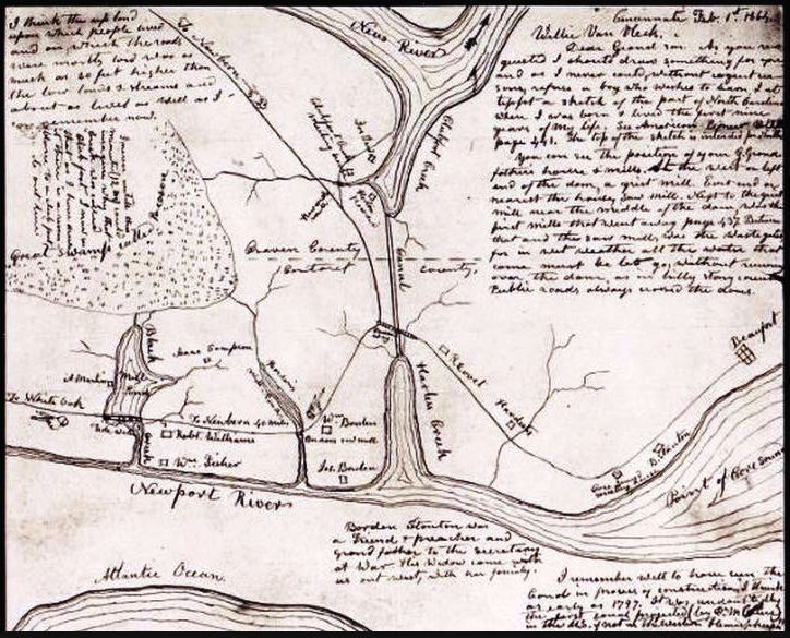 Carteret County Nc Map.Robert Williams Sailed To Beaufort Nc By 1765 Topography Of