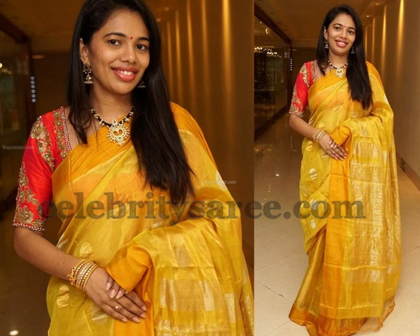 51ad9fd42c742 Mustard silk tissue saree with silver color and gold polka dots all over