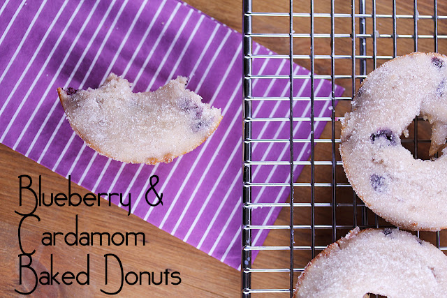 Blueberry & Cardamom Baked Donuts | sweetpeasandsaffron.com