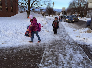 Students Head to School on a Cold Day