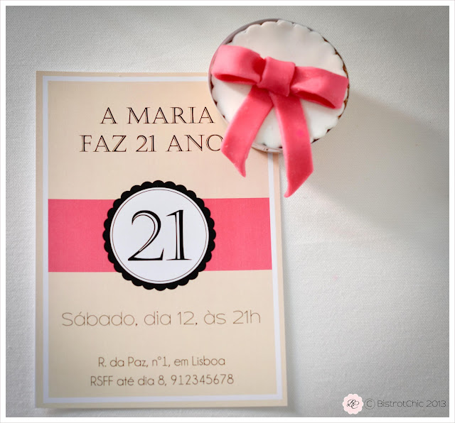 Pink and black 21 st birthday personalised party printables from Bistrotchic