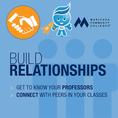 poster featuring Rio Mascot Splash, Maricopa Colleges logo and an icon of hands shaking.  Text: Build relationships.  Get to know your professors.  Connect with peers in your classes.