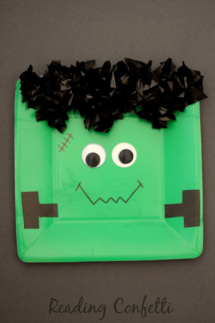 Paper plate Frankenstein Halloween craft