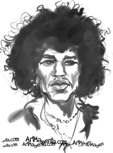 Jimi Hendrix caricature cartoon. Portrait drawing by caricaturist Artmagenta