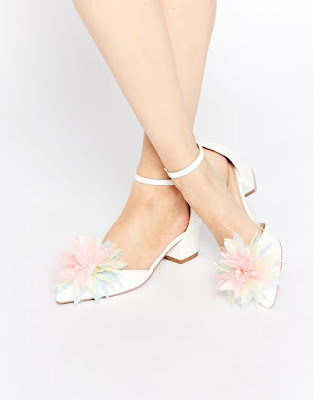 Asos White low heeled shoes with pom pom detail