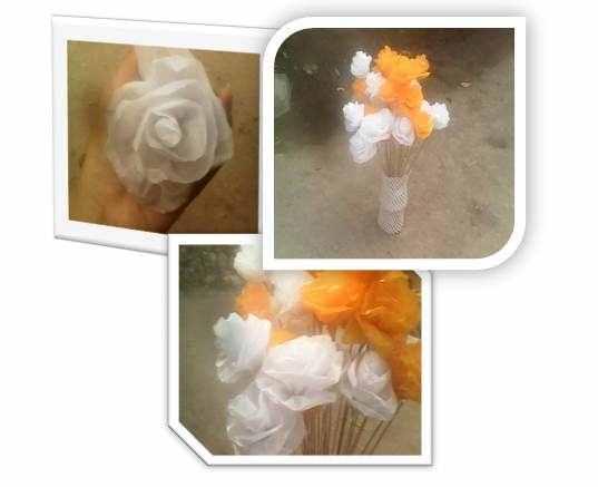 Gambar kreasi vas bunga cantik dari kertas warna warni