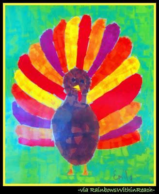 photo of: Colorful Turkey Painting (Thanksgiving RoundUP via RainbowsWithinReach)