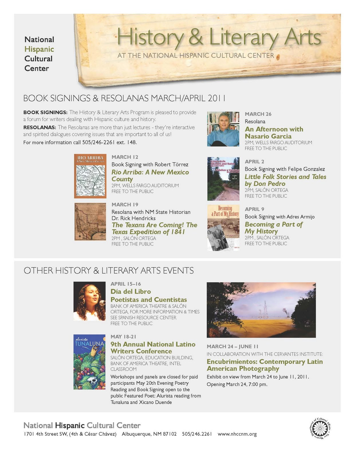 Click On The Image Forrmation About Several Events Scheduled For The  National Hispanic Cultural Center In Albuquerque, Nm