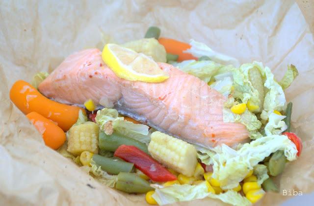 Lososové balíčky so zeleninou