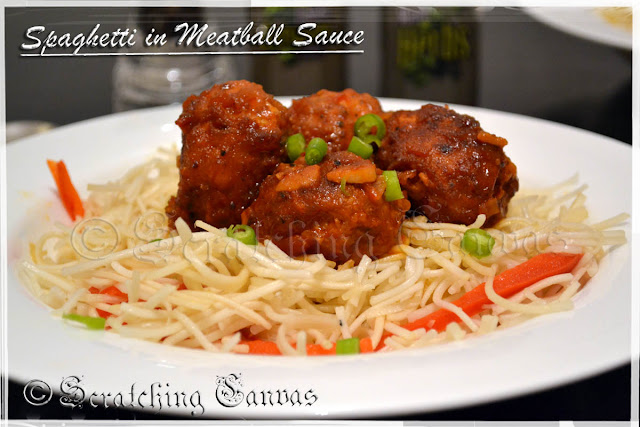 Spaghetti with Italian Meatball in Tomato Sauce
