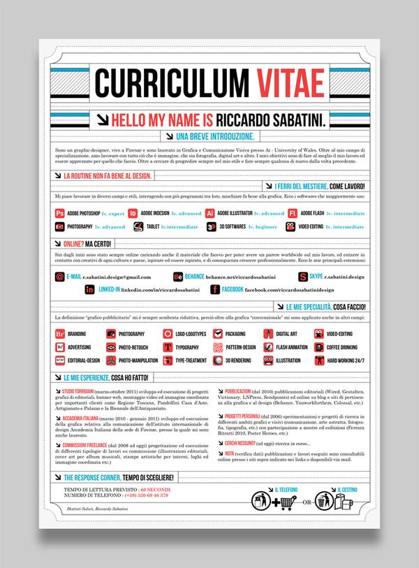 curriculum vitae  esempi di curriculum creativi trovati su