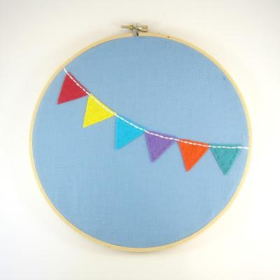 Rainbow Bunting Embroidery Hoop