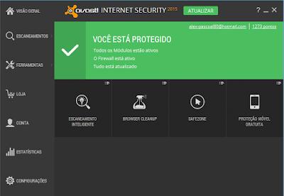 ANTIVÍRUS AVAST INTERNET SECURITY 2015 + LICENÇA ATÉ 26/12/2016