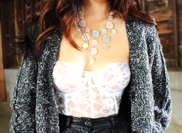 Vancouver fashion blogger Jasmine Zhu wearing vintage lace bustier and aritzia cardigan and necklace from Necessary Clothing