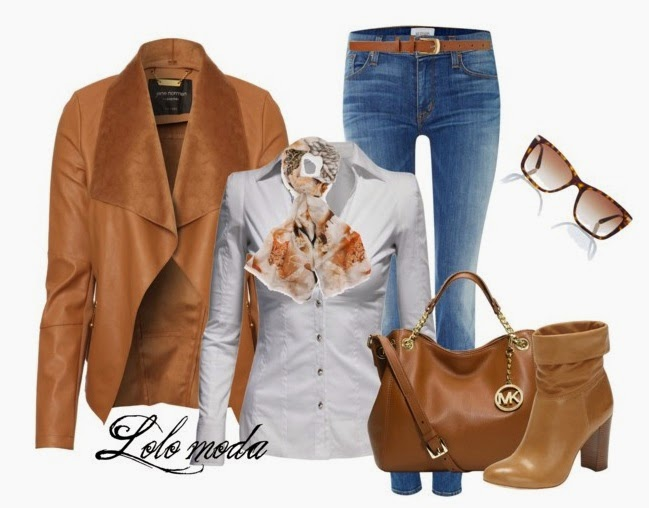 Stunning women's outfits – trend . fashionable women's outfit. Fashionable outfit combines leather jacket and leather Michael Kors bag – boots