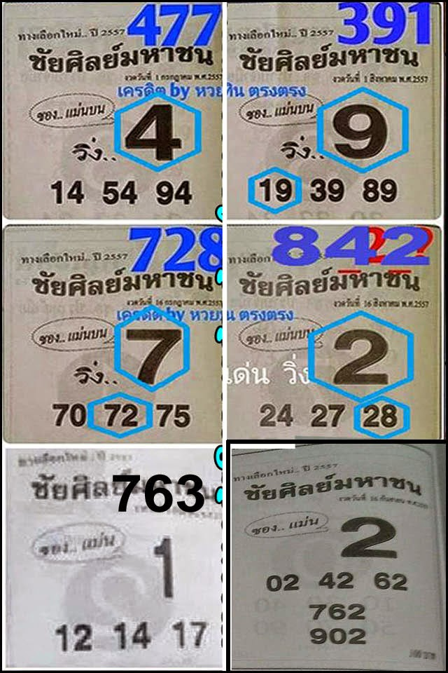 Thai Lottery Single Sure DIgit TIP 16-09-2014