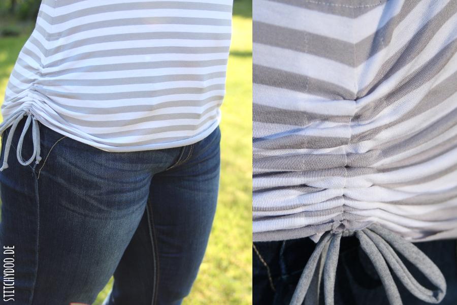 stitchydoo: sommerliches, gestreiftes Joana Shirt mit seitlicher Raffung