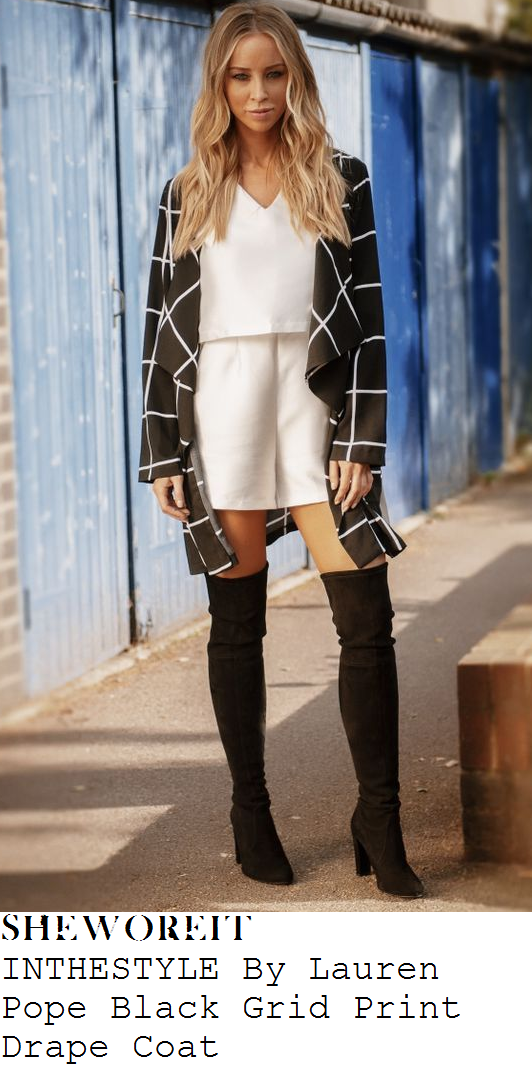lauren-pope-black-and-white-monochrome-check-grid-window-pane-long-sleeve-drape-front-coat-towie