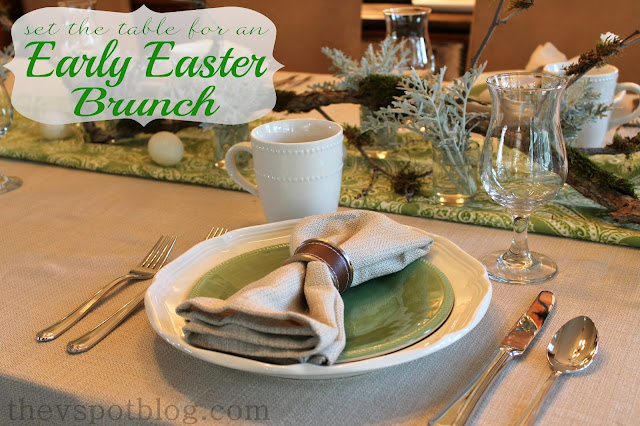 spring, Easter, table, brunch, linen, napkins, texture, green, white, brown