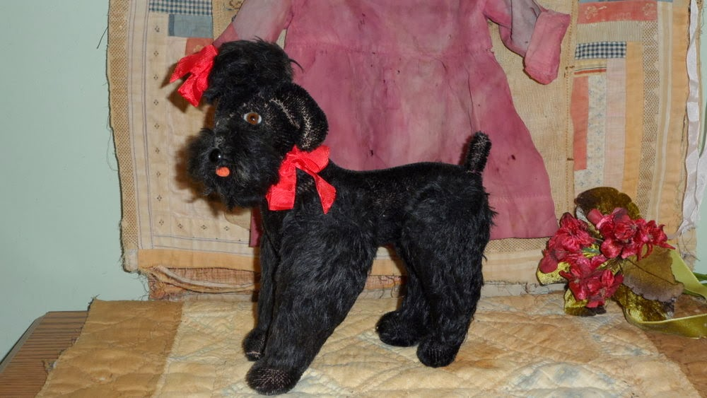 Early Black Mohair Steiff Poodle
