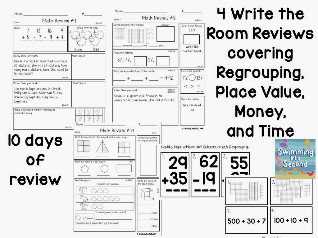 Math Review 2nd Grade swimming into second common core review – 2nd Grade Math Review Worksheets