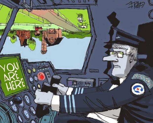 Brian Gable: Stephen Harper flying upside down.