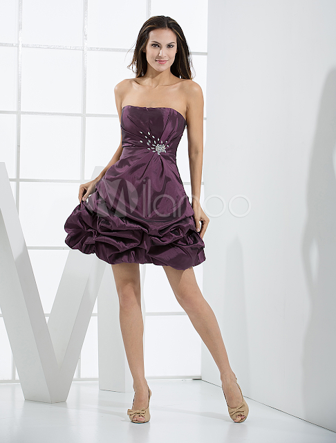 China Wholesale Homecoming Dresses - Elegant Short Grape Strapless Taffeta Womens Homecoming Dress