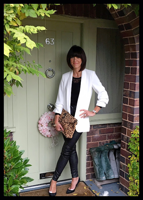 My Midlife Fashion, Zara Crepe Tuxedo, Massimo Dutti Leather Leggings, The Bodystocking lace body, leopard print clutch,animal print,  j crew necklace, j crew classic link pave bracelet, strappy