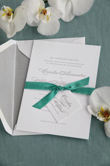Letterpress wedding invitations classic