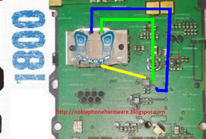 jumpers as shown in this figure for fix Nokia 1800 insert sim problem