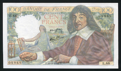 currency of france 100 french francs banknote of 1944 rene descartes coins and banknotes. Black Bedroom Furniture Sets. Home Design Ideas