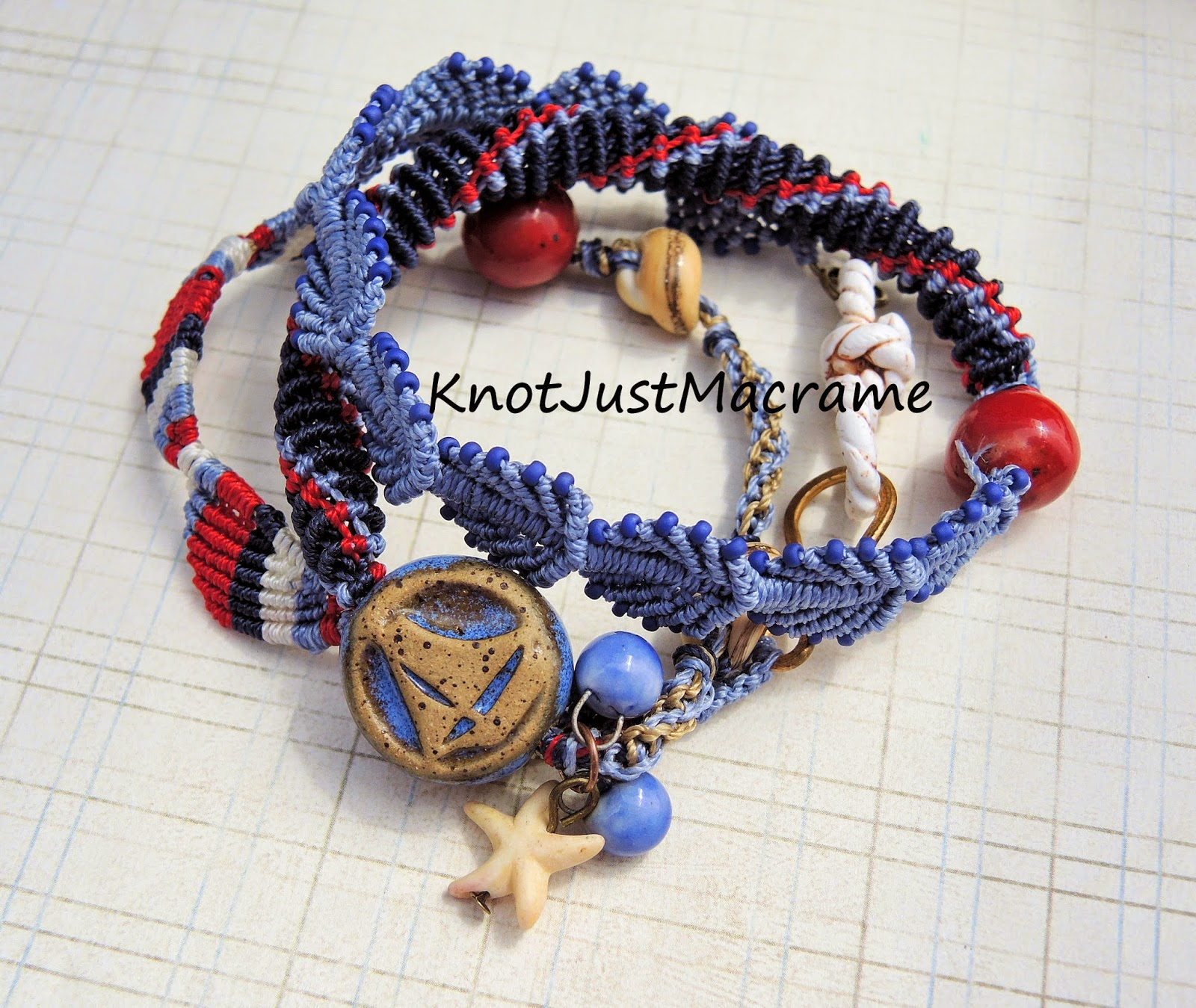 Nautical Micro Macrame wrap bracelet by Sherri Stokey of Knot Just Macrame.