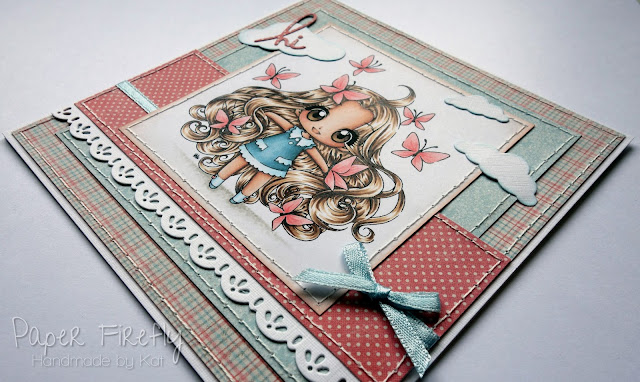Girly handmade card using Chasing Nova from Make it Crafty, and Maja Design papers