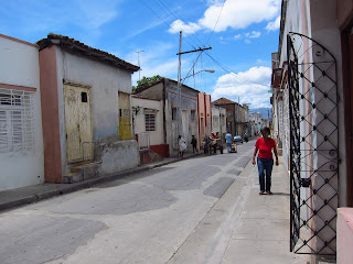 Santiago de Cuba single person walking on sunny street