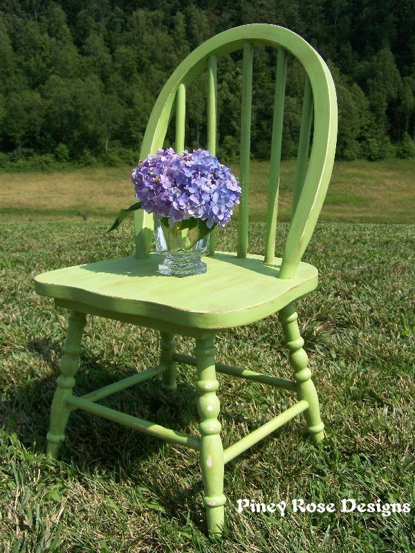 I Painted The Little Chair An Apple Green, Distressed It A Bit, And Then  Added A Walnut Stain Which I Quickly Wiped Off.